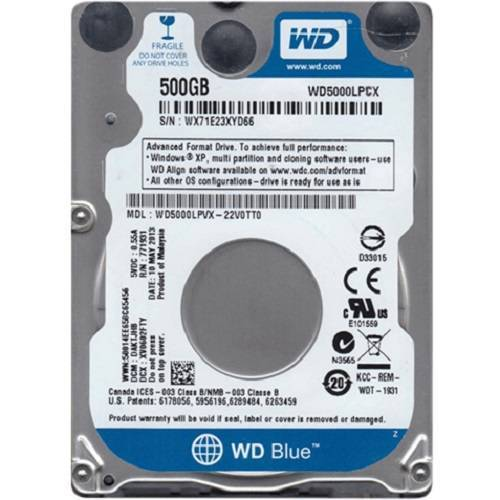 HDD WESTERN 500GB WD5000LPCX laptop